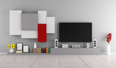 tv on wall: Living room with modern wall unit and Tv set - 3D Rendering