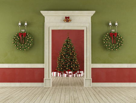 room door: Retro room with stone portal and christmas tree in the background - 3D Rendering Stock Photo