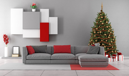 Contemporary living room with christmas tree ,gift and modern sofa - 3D Rendering Stock Photo