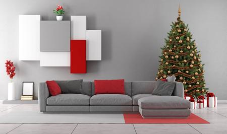 Moderner Wohnraum mit Weihnachtsbaum, Geschenke und modernes Sofa - 3D-Rendering Standard-Bild - 43644352
