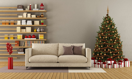 Modern lounge with christmas tree,gift and bookcase - 3D Rendering