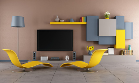 minimalist apartment: Colorful living room with two chaise-lounge and Tv set - 3d Rendering