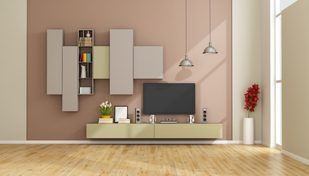 tv wall: Modern lounge with colorful wall unit and tv set - 3D Rendering