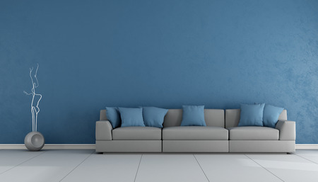 stucco: Blue and gray living ropom with elegant sofa - 3D Rendering Stock Photo