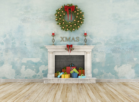 grunge room: Vintage christmas room with classic fireplace with colorful gift - 3D Rendering