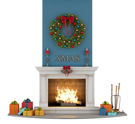 stone fireplace: traditional fireplace with christmas decorations isolated on white - 3D Rendering Stock Photo