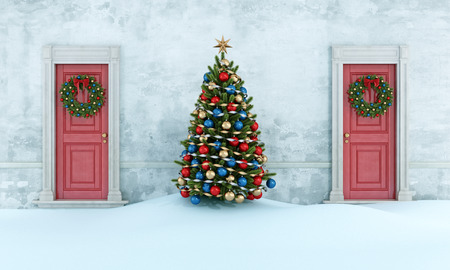Old house with christmas tree,two red front door with wreath - 3D Rendering Standard-Bild