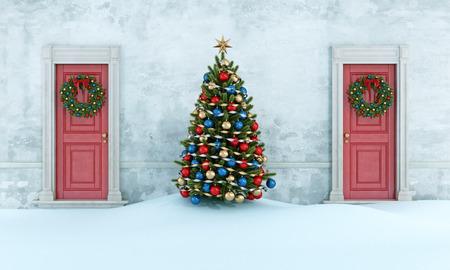 puerta: Antigua casa con el árbol de navidad, dos puertas frontal de color rojo con corona - 3D Foto de archivo