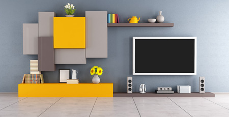 Modern lounge with colorful wall unit and tv set - 3D Rendering