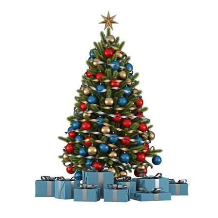 solated: Christmas tree with colorful ornaments and blue present solated on white - 3D Rendering
