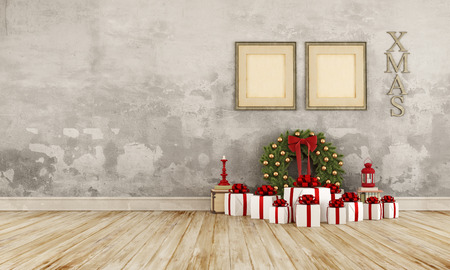 livingroom: Vintage interior with christmas present and wreath on old wooden floor - 3D Rendering