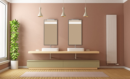 washbasins: Contemporary Bathroom with two washbasins and heater-3D Rendering Stock Photo