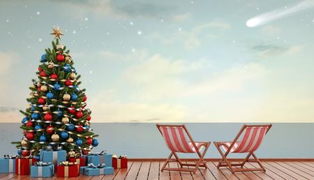 playas tropicales: �rbol de navidad y regalo en el muelle con Tumbona dos al atardecer - Representaci�n 3D Foto de archivo