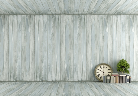 vintage objects: Old wooden room with vintage objects on floor - 3D Rendering