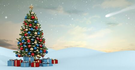 coniferous tree: Winter landscape with colorful christmas tree and gift at sunset- 3D Rendering
