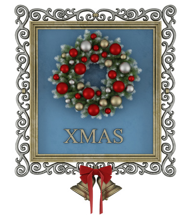 christmas bow: Picture with golden frame and wrought iron with wreath on blue background - 3d Rendering Stock Photo