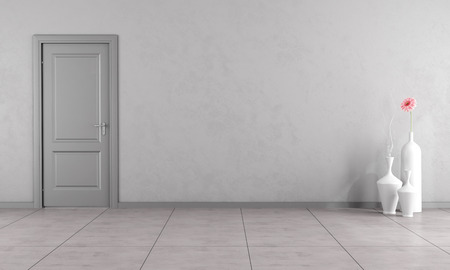 livingroom: Empty gray living room with closed door - 3D Rendering Stock Photo