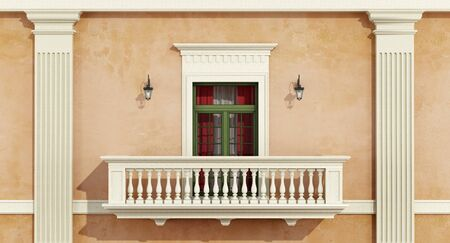 pilaster: detail of a classic facade with window, balcony ,balustrade and pilaster- 3d rendering