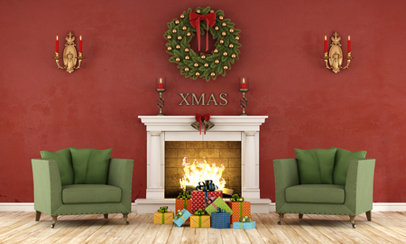 dirty room: Retro christmas interior with two green armchair and present and classic fireplace - 3D Rendering Stock Photo