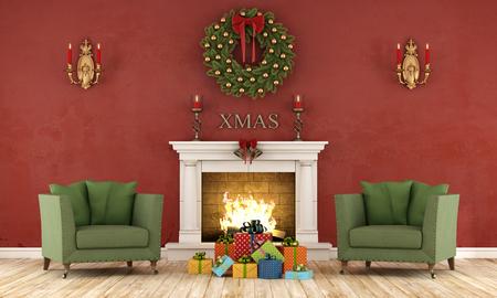Retro Weihnachts Interieur mit zwei grünen Sessel und Gegenwart und klassische Kamin - 3D-Rendering Standard-Bild - 45723488