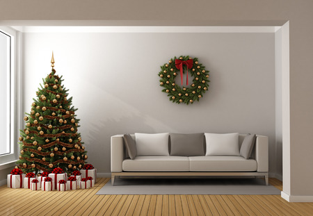 Современная гостиная с елки, подарки и современный диван - 3D рендеринг