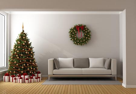 Moderner Wohnraum mit Weihnachtsbaum, Geschenke und modernes Sofa - 3D-Rendering