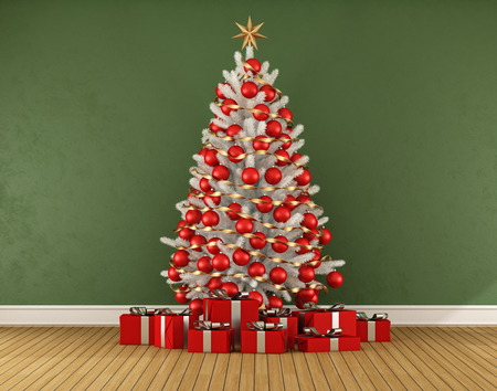 Green room with white christmas trre with red decoration - 3D rendering
