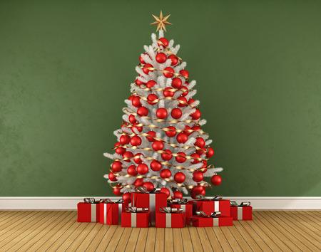 Sitio verde con blanco trre navidad con la decoración roja - 3D Foto de archivo - 45723502