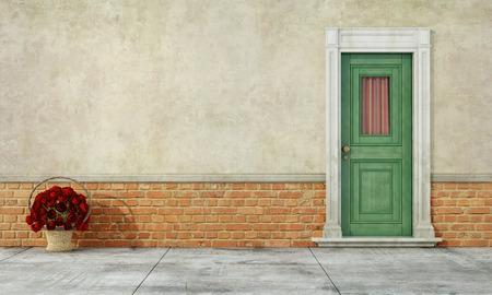 puertas de madera: Detalle de una casa antigua con puerta verde y cesta de mimbre con rosas en el suelo - Representación 3D Foto de archivo