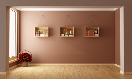 pilaster: Empty Living room with  wooden crates used as a bookcase- 3D Rendering
