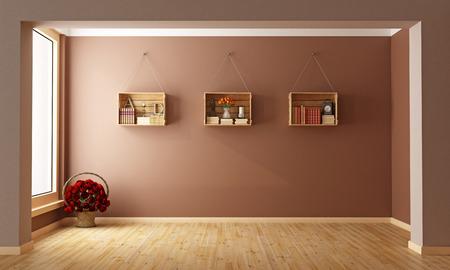 muebles de madera: Sala de estar vacía con cajas de madera utilizados como una representación 3D bookcase-