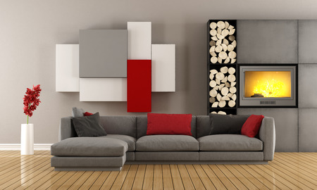 red sofa: Contemporary lounge with gray sofa ,wall unit and fireplace - 3D Rendering