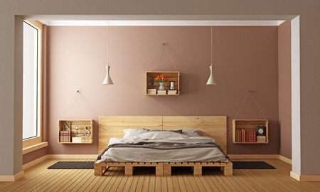 Bedroom with pallet bed and wooden crates used as nightstands - 3D Rendering Foto de archivo