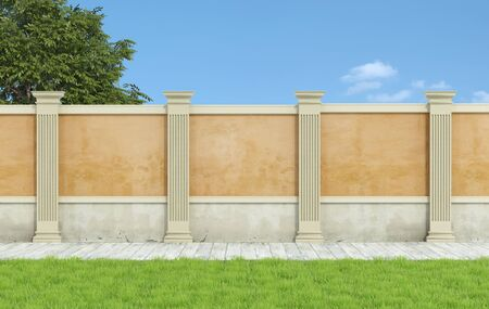 pilaster: Empty classic garden with orange wall and pilaster and wooden floor - 3D Rendering Stock Photo