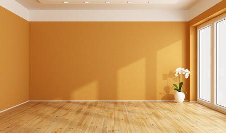 Lege oranje kamer met houten vloer 3D rendering