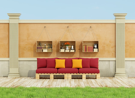 red sofa: Classic garden with red pallet sofa on wooden floor - 3D Rendering
