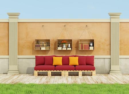 the pallet: Jard�n cl�sico con sof� paleta de color rojo en el piso de madera - representaci�n 3D