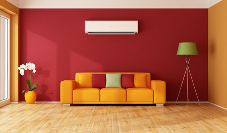 room air: Red and  orange living room with colorful sofa and air conditioner - 3D Rendering