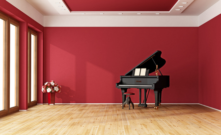 minimalist apartment: Large red room with black grand piano - 3D Rendering