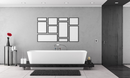 Black and white Bathroom with elegant bathtub and wooden door - 3D Rendering Фото со стока