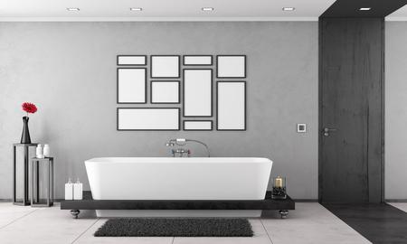 marco madera: Cuarto de ba�o blanco y negro elegante con ba�era y puerta de madera - representaci�n 3D