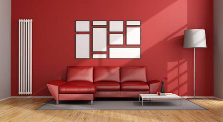frame on wall: Red Living Room with modern couch and vertical heater - 3D Rendering Stock Photo