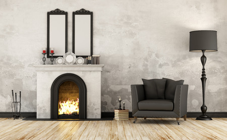 room wall: Black and white retro room with fireplace and armchair - 3D Rendering Stock Photo