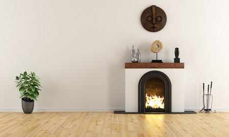 minimal: Empty room with minimalist fireplace with ethnic decor objects - 3D Rendering