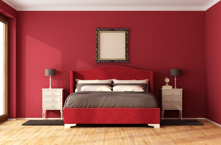 red wall: Red Classic Bedroom with elegant bed and nightstand - 3D Rendering