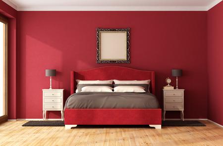 Rotes klassisches Schlafzimmer mit eleganten Bett und Nachttisch - 3D-Rendering