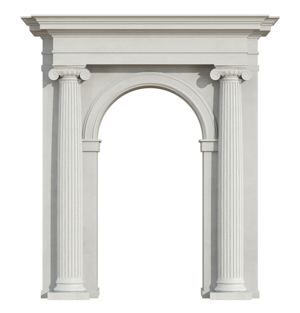 Front view of a classic arch with ionic column isolated on white - 3D Rendering