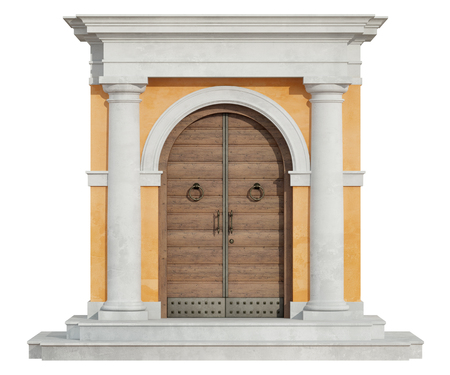 stone wall: Front view of a classic portal in tuscany order  with wooden door isolated on white - 3D Rendering Stock Photo