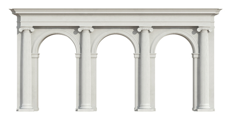 ionic: Ionic colonnade with three arch isolated on white - 3D Rendering