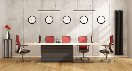 business table: Minimalist boardroom with modern meeting table and concrete wall on background - 3D Rendering